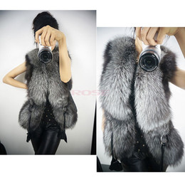 Wholesale 2014 New Winter Black Faux Fox Fur Vest Women Short Design Coat Fur Leather Fashion Vest Plus Size SV003726
