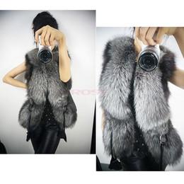 Wholesale 2014 New Winter Black Faux Fox Fur Vest Women Short Design Coat Fur Leather Fashion Vest Plus Size SV003726