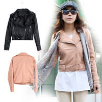 Wholesale Korea OL Lady Slim Faux Leather Turn Down Collar Jacket Full Sleeve Zipper Coat For Women Outwear