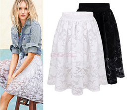 Wholesale Hot Knee Lenghth Lace Fashion Skirt Women Casual Flower Print Spring and Autumn Skirt SV004276