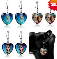 Wholesale Frozen Earrings Elsa Anna Heart Dangle Chandelier Earrings Women Children Girl Charm cartoon glass Pendant Earrings Party Gift COSPLAY hot