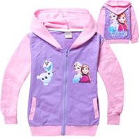 Cheap 2014 Autumn Frozen Baby Girls 2-8Yrs Elsa Anna Princess Olaf Hoodie Long Sleeve Terry Hooded Jumper Cartoon Hoodies Outerwear Kids clothes