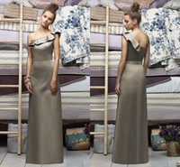 Cheap Best-Selling Love 2015 Wonderful Elegant Gorgeous Sweet A-Line One-Shoulder Sleeveless Sweep Train Backless Satin Ruched Bridesmaid Dresses