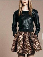 Cheap 2014 fashion HOT Elastic Waist Leopard Printed Pleated Skirts With Pockets & Zipper Size XS S M L#LY080