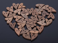 sewing buttons - 100 Brown Wood Wooden Sewing Heart Shape Button Craft Scrapbooking mm CA12008