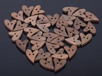 achat en gros de bois bouton coeur-Brand New 100 lot brun bois en bois de couture artisanat bouton bouton de forme de scrapbooking 20mm [CA12008 (10) * 10]