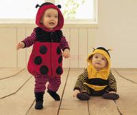 bee - 2014 New Cute m Fleece Ladybird Bee Cartoon Baby Cosplay Costume Dress Romper Clothing Two Colors