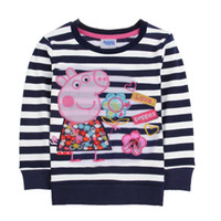 Unisex peppa pig - 2014 New Girls Kids Long Sleeve Clothes Baby Peppa Pig Clothing Girls Cartoon Striped T Shirt SV004473
