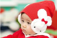 Unisex cotton beanies - 2014 Cotton New Baby Infant Toddler Kids Boys Girl Winter Ear Flap Warm Hat Beanie Cap Crohet Rabbit