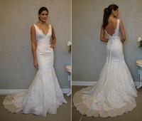 Wholesale 2014 White Fall Vestido de novia Mermaid Wedding Dresses Narrow Strap Deep Neck Lace Ribbon Backless Long Fit Bridal Gowns WJ082015