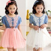 TuTu brand clothes kids - 2014 Summer Girls Dress Brand Children Dresses Girl Dress Kids Clothing Lace Belt Denim Tulle Princess Dress Y SV002420