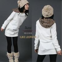 Women womens tops - Womens Autumn Sweatshirts Hoodies Leopard Top Outerwear Parka Coats White Black Four Size