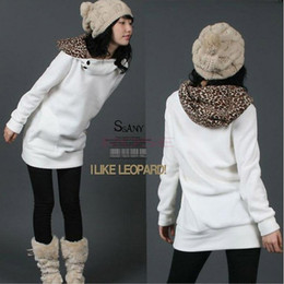 Wholesale Womens Autumn Sweatshirts Hoodies Leopard Top Outerwear Parka Coats White Black Four Size