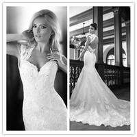 Wholesale 2014 Lace Backless Wedding Dresses Sexy V Neck Mermaid Bridal Dress Spaghetti Applique Wedding Suits Wedding Veil Gloves Petticoats
