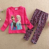 Wholesale spring autumn children cartoon cotton pajamas frozen elsa anna girls set homewear sweety girls nightgown kids warm sleepwear