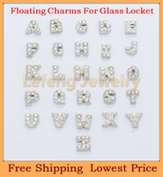 Wholesale alloy Alphabet letter word crystal A Z origami owl floating charms for living glass memory glass lockets FC181