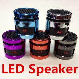 QC-88 Mini Portable Metal Luminous Stereo HiFi Speaker Sound Box Subwoofer Speakers With LED Display Support USB TF Card FM Radio