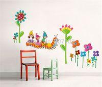 Removable home furniture decoration - artoon caterpillar sticker White Flower Vinyl Wall Decals Stickers Furniture Living Room Decor Mural Art Sticker JiaMing Home Decoration