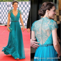 Lace Short Sleeve V-Neck Best Selling! Custom Made Blue V-neck Cap Sleeve Lace Prom Evening Party Gowns Formal Dress Bridesmaids Dresses 32043