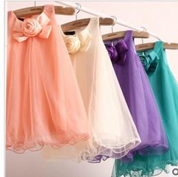 Wholesale Summer Dress Skirt Girls A Line Skirt D Big Flowers Girls Lace Dresses princess dress girl lace skirt gauze dress