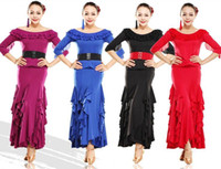 Wholesale New Design Black Red Blue purple Boat Neck Ruche Waistband Top Skirt Women Latin Tango Rumba Dance Slim Costume Ballroom Dancing Dress tl055