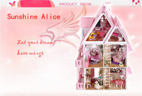 Wholesale Sunshine Alice DIY Doll house Handmade Wood Kid Toys Assembling Toy English instructions Dollhouse Gift