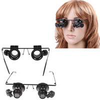 Wholesale 20x Jeweler Watch Repair Magnifying eye Glasses Magnifier Loupe Lens With LED Light H8129
