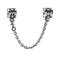 Cheap Wholesale 925 Sterling Silver Flowers Safety Chain Pandora Beads European Charm Compatible With Snake Chain Bracelets Jewelry