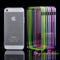 Pour les cas iphone 4S 5S SE Ultra Thin Cristal Transparent TPU Bumper Acrylique Hard Case Cover Avec Dust fiche pour iPhone5 5