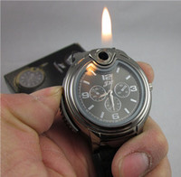 military - Luxury Military Lighter Watch Novelty Quartz Sports Refillable Butane Gas Cigarette Cigar Men Women Watches Bracelets Two Colors Factory DHL