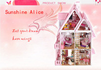 Wholesale 5pcs Sunshine Alice DIY Doll house Handmade Wood Kid Toys Assembling Toy English instructions Dollhouse Gift