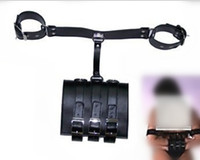 Cheap Female Slave handcuffs bondage Arm and Wrist Restrict Enhanced Leather Chastity Belt Device For Women Sex Products Free shipping