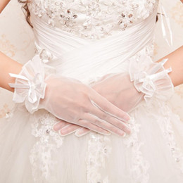 Wholesale In Stock Cheap Tulle Bridal Gloves Transparent Wedding Dresses Gloves Full Long Finger Accessories NO