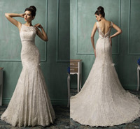 Cheap Amelia Sposa 2014 new Sheer Bateau Lace Backless Mermaid Sexy Wedding Gowns Beads Sash Charming Plus Size Bridal Dresses High Quality ZC