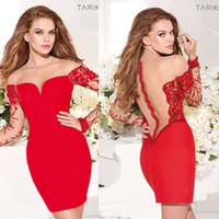 Cheap Tarik Ediz 2014 Evening Dresses Sheer Neckline Off Shoulder Illusion Sleeve with Beading Sheer Back Red Short Mini Cocktail Dresses dhyz 01