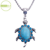 turtle pendant - Hot Sale Newest Fashion Design Lureme Brand Jewelry Vintage Turquoise Rhinestone Turtle Pendant Necklace For Elegant Women