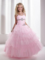 Wholesale Lovely Pink Tulle Layers Flower Girl Dress Girls Formal Dress Pageant Party Dress