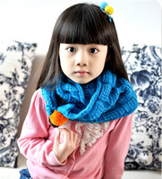 Cheap Korean Version Simple Solid Color Cage Kids Winter Accessories Super Cute Double Cashmere Shawl Scarves Yarn Knitted Wrap