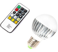 Wholesale AC V W E27 LED Lamp LM Color Temperature changeable LED Light with Bright Remote Control LED Bulb Lamp DHL free LY