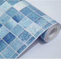 self adhesive vinyl wallpaper - 10M Kitchen Bathroom Toilet Blue Mosaic Vinyl Self Adhesive Wallpaper Living Room Mural Waterproof Papel De Parede Roll
