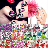 Wholesale 10 Sheet Nail Beauty Nature Colorful Flower Diy Nail Art Polish Foils Decal Stickers Tips Wraps Decoration Water Transfers JC03039