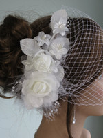 dress hats - 2015 Hot Selling In Stock Bride Veil Comb Blusher Birdcage Tulle Ivory Champagne Flowers Feather Bridal Wedding Hots Hat Dress