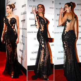 Wholesale 2015 Sexy See through Evening Dress with Single Long Sleeve Luciana Gimenez Side Split Celebrity Dress Sheer Black Lace Backless Prom Dress