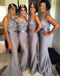 Cheap Dark Grey Mermaid Bridesmaid Dresses Sparkly Beaded Top Country Maid of Honor Wedding Guest Gowns Formal Prom Party Dress BO6556