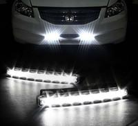al por mayor pares de automóviles al por mayor-Venta al por mayor-Libre 2PCS / pair coche universal luz blanca Super 8 LED DRL luz diurna de funcionamiento automático de la lámpara principal 12V lámpara de color blanco DRL