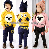 Wholesale 2014 Newest Children Clothing Sets Fall And Winter Cotton Boy And Girl Suits Cartoon Pattern Clothes Kids Casual Wear CS40817