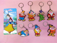 Cheap New Princess Snow White and Seven Dwarfs Soft Rubber Doll Figure Pendants Keychains Free Shipping