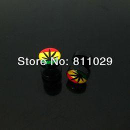 OP-Free Shipping reggae color illusion cheaters 10pcs 1.2*6*10 10mm rasta color leaf logo print acrylic fake plugs