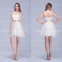 sexy mini wedding dress - 2014 Cheap In Stock Wedding Dresses Sexy Crew Lace Tulle Bow Sash Sheer Back Mini Short Summer Beach A Line Bridal Gowns BZP0378