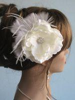 Cheap Flower Wedding Church Hat Fascinator With Brooch Pin Hair Clip White Feather Tiaras Hair Accessories